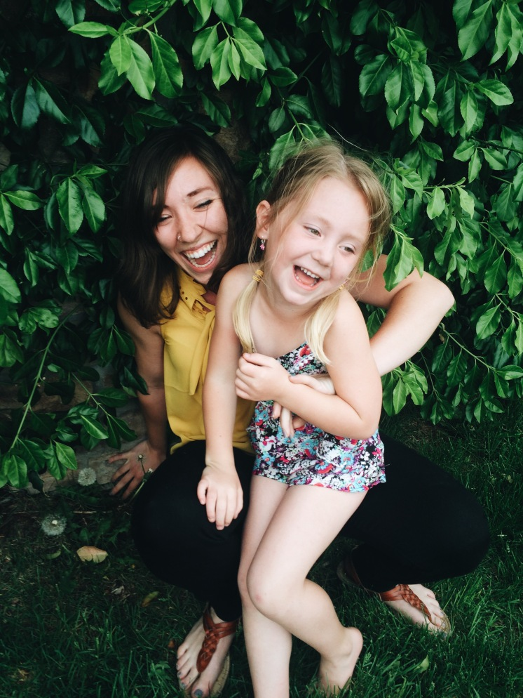 Probably the moment she peed on me - too much laughing!