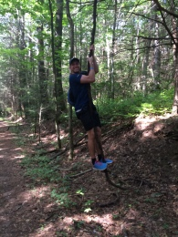 Matt attempting to swing on vines. This is probably what caused the tree to fall down