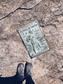 Appalachian Trail marker at Springer Mountain and hiking boots