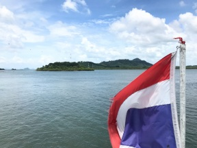 Thailand national flag on the ferry